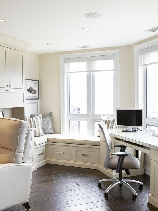 family home office with wondow seat