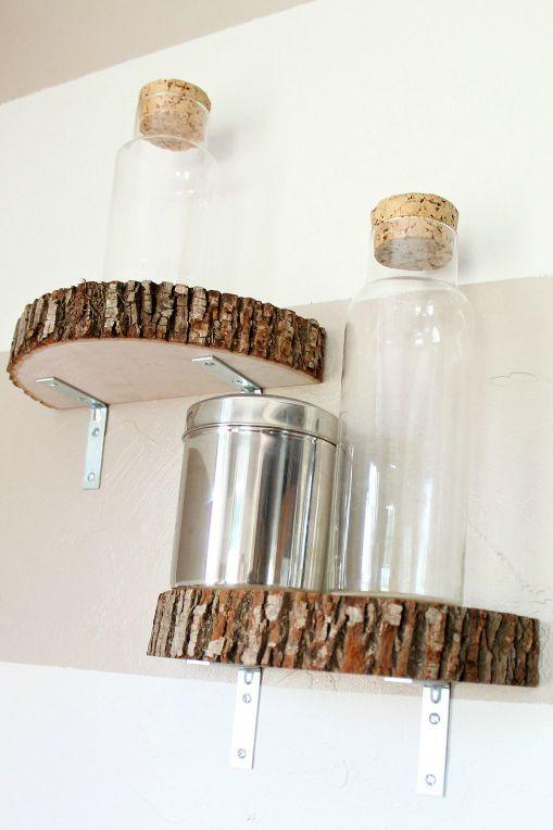 wood slab floating shelves