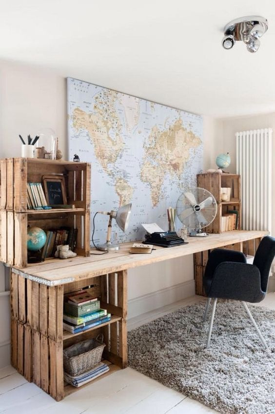 home office with crate organisers