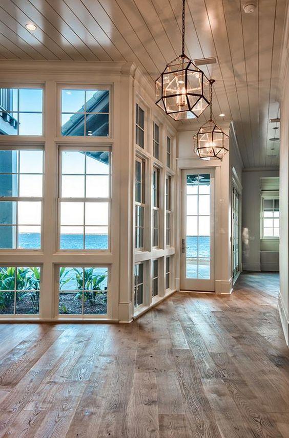 beach house with bare hardwood floors