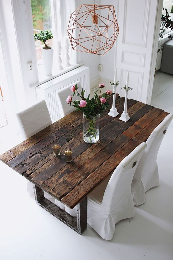 old wood farmhouse dining table