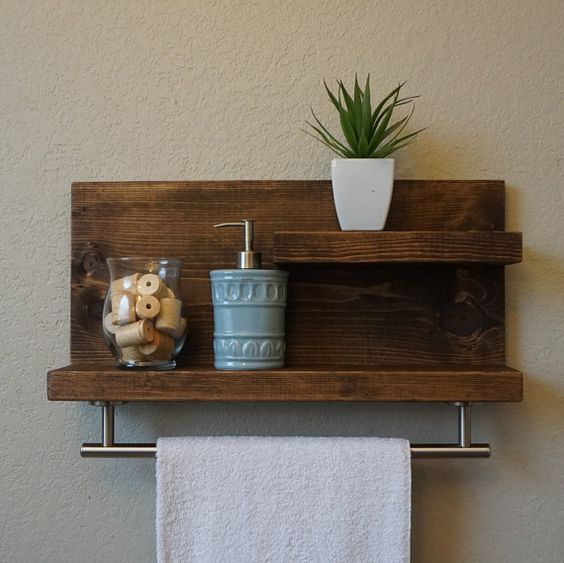 DIY bathroom wood shelf