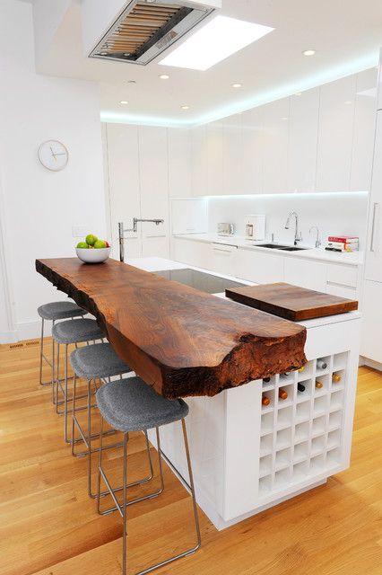 wood slab kitchen island