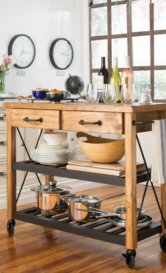 small kitchen island with wheels