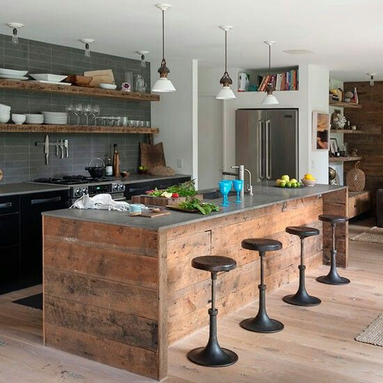 contemporary kitchen with wooden island