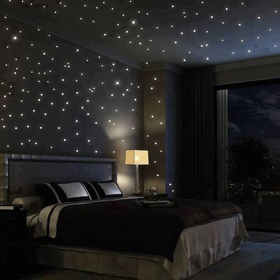 dark bedroom with star lights