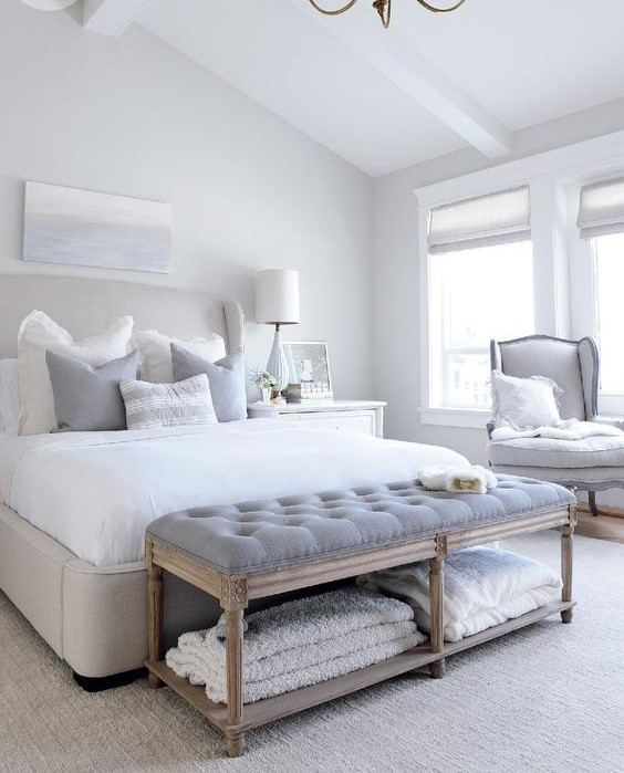 white and grey master bedroom
