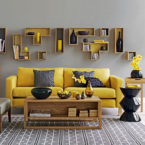 stylish bright yellow living room