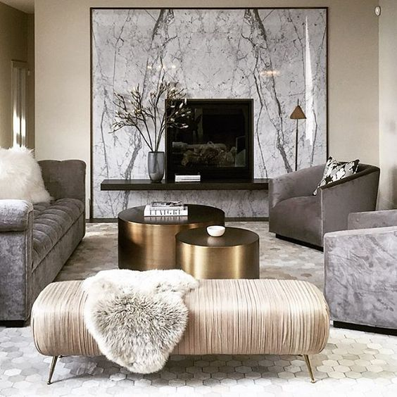 opulent marble and gold living room