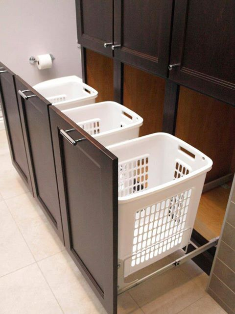 pull-out laundry hamper cabinet