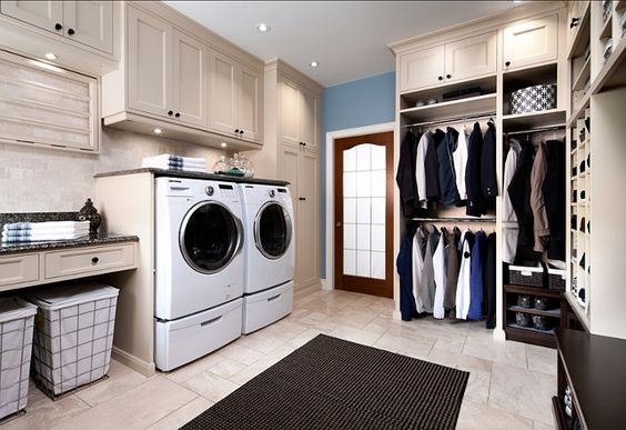laundry in a closet