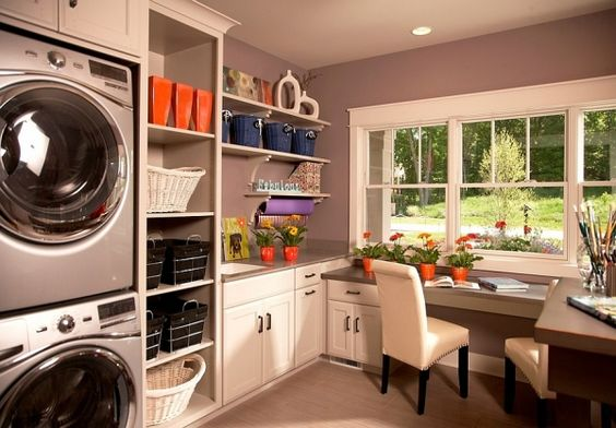 laundry and study room in one