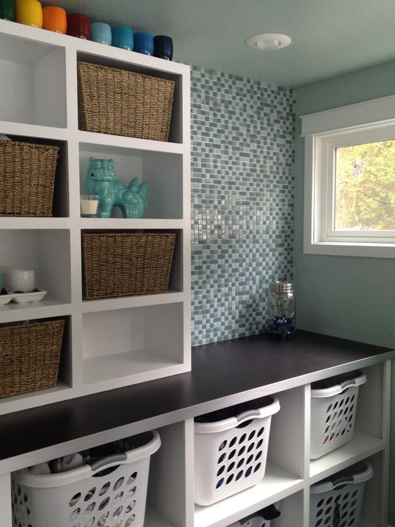laundry room organising shelves and baskets