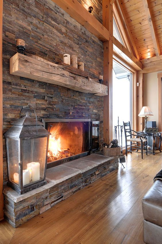 modern country home with brick fireplace