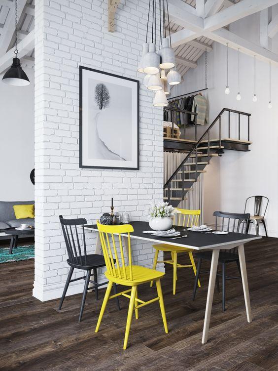 modern loft with white brick wall