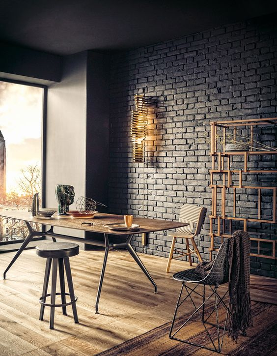 modern black brick wall