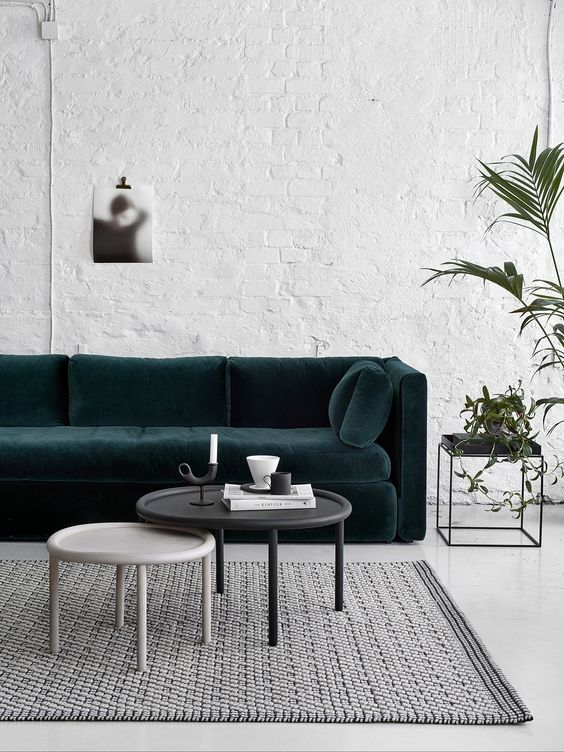 chic living with while brick wall