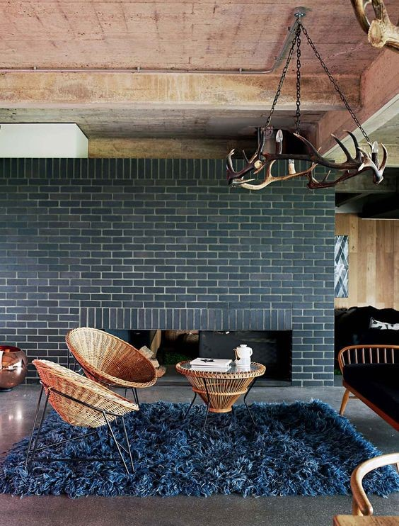 blue themed country living room