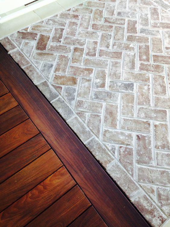 whitewashed herringbone brick floor