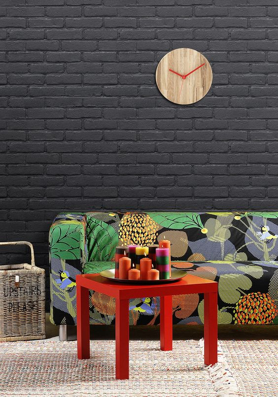 Bohemian living room with black wall