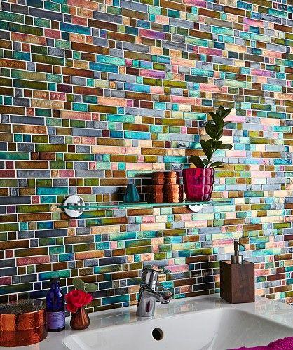 mosiac brick accent bathroom wall