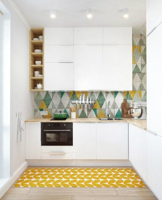 small and colourful kitchen