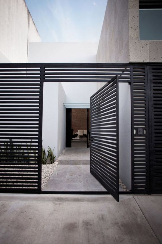 modern steel black fence