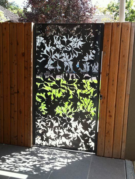 etched metal fence door