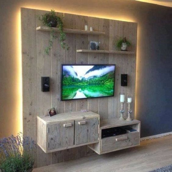 recycled pallet entertainment centre