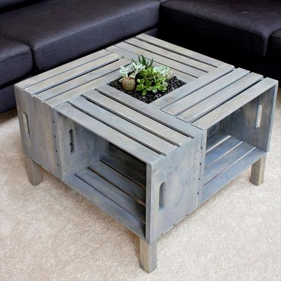recycled crate coffee table