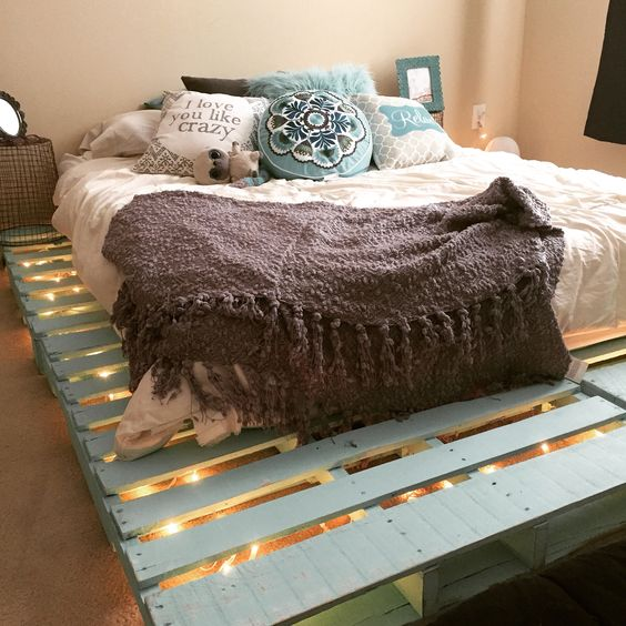 re-purposed pallet bed frame