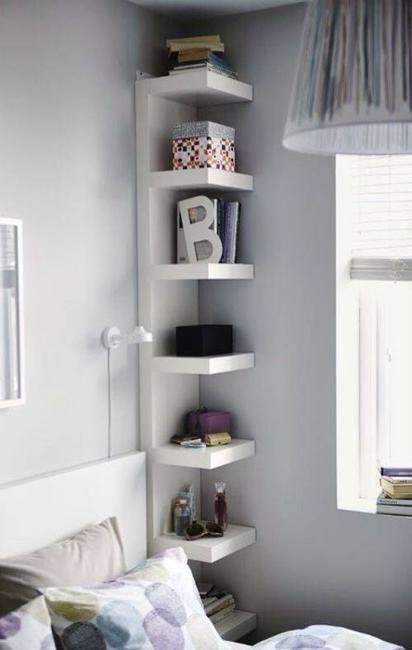 small corner floating shelves