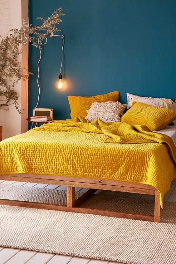 gold and teal bedroom