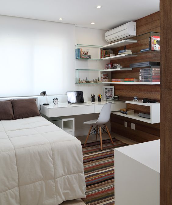 small bedroom with office