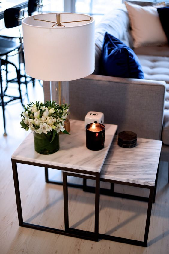 marble topped side tables