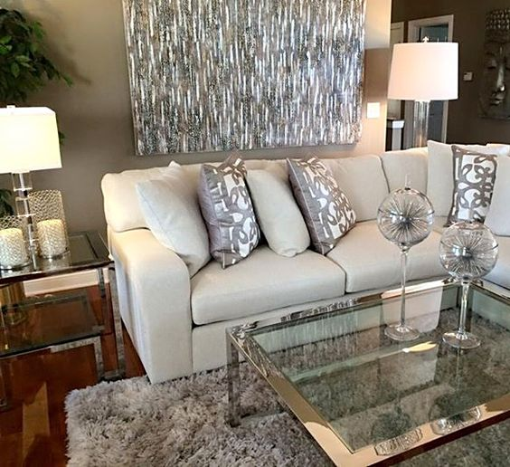 silver themed living room