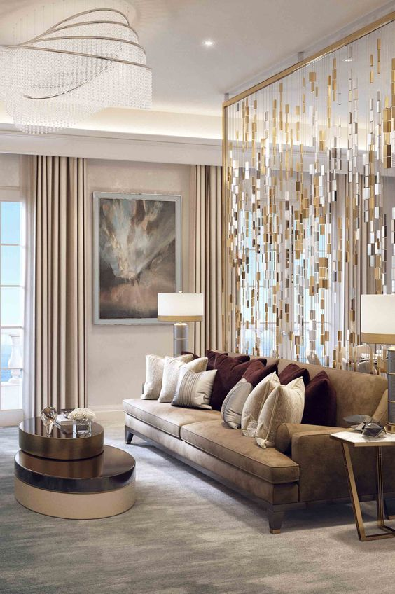 gold themed living room
