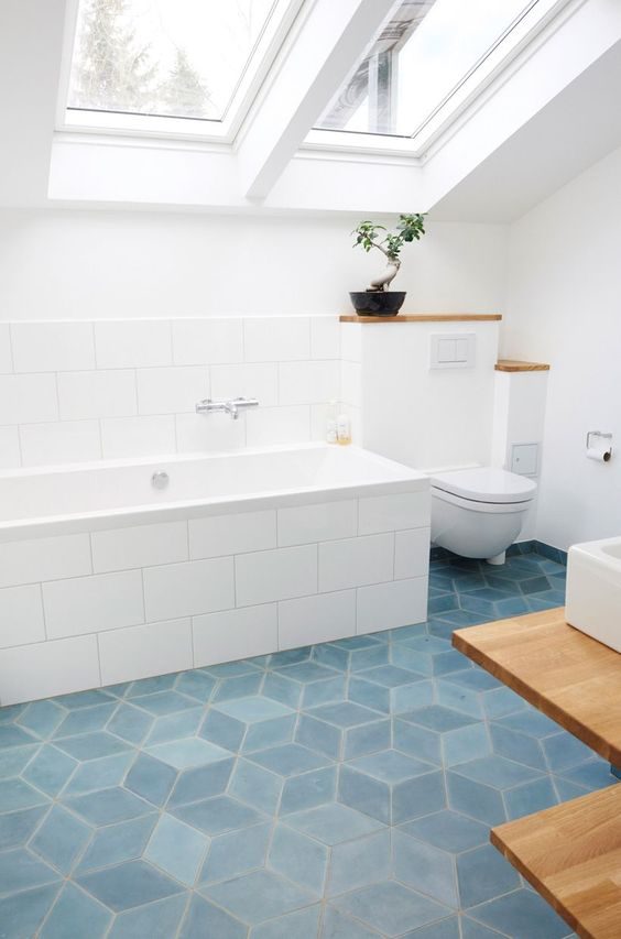Blue Tiles Bathroom Floor Image Of