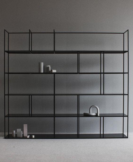 black modular shelving