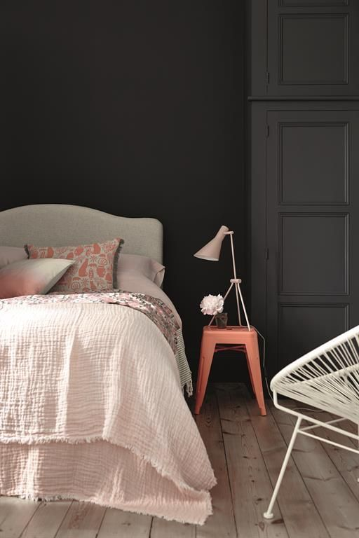 peach and grey bedroom