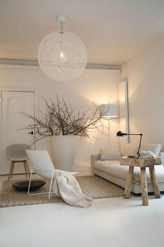 white modern rustic living room