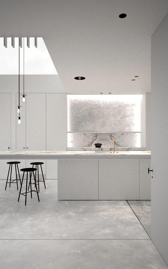 white marble modern kitchen