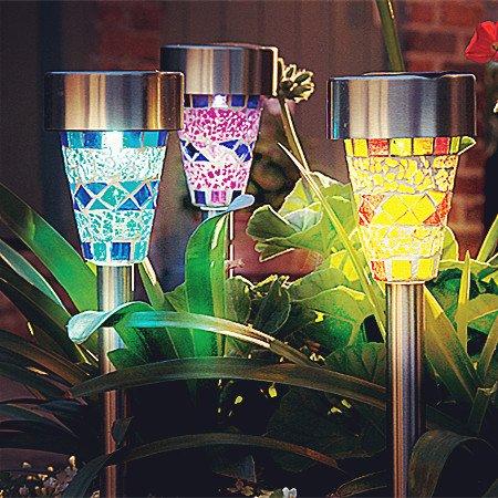 mosaic garden stake lights