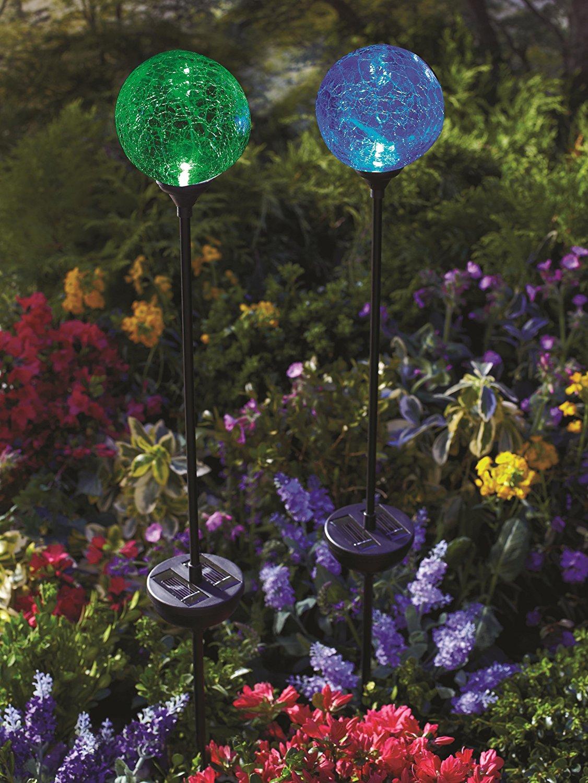 glass ball outdoor stake lights