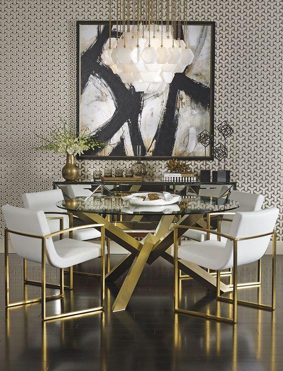 posh modern gold dining room
