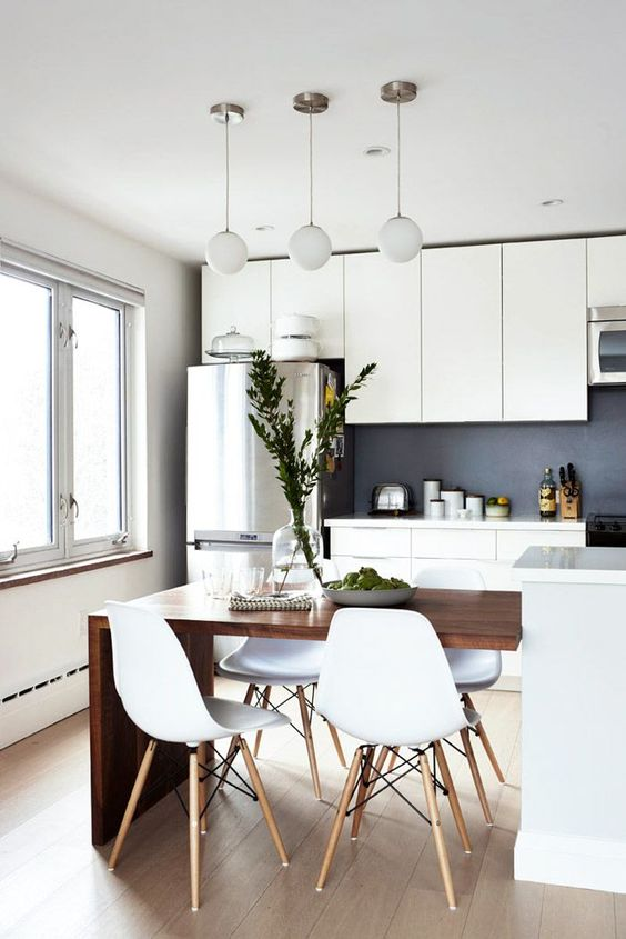 modern kitchen and dining room