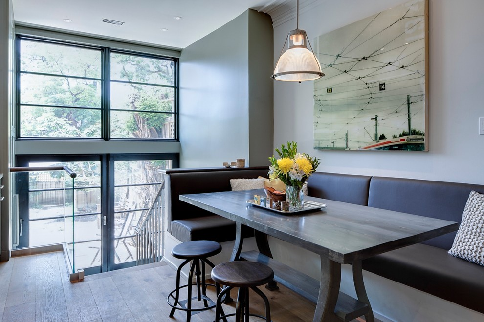 modern dining room with banquette seating