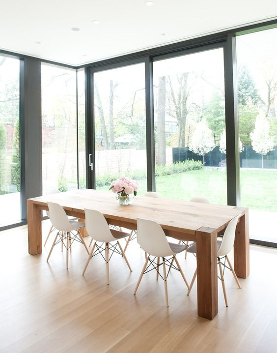 modern dining room with glass walls
