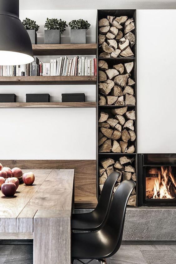 warm rustic modern dining room