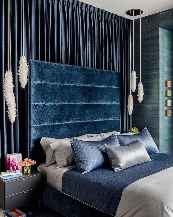 midnight blue luxurious bedroom